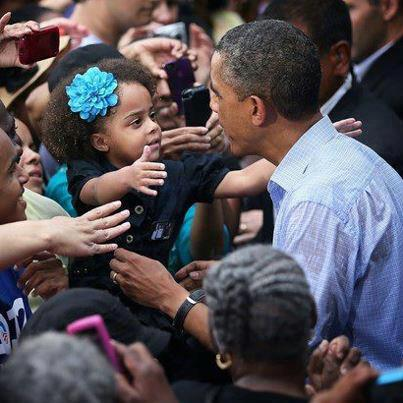 President and young girl